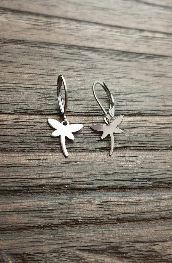 Tiny Dragonfly Earrings, Stainless Steel Earrings.