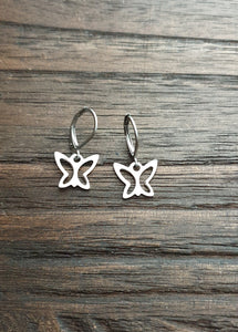 Butterfly Earrings, Stainless Steel Leverback Earrings.