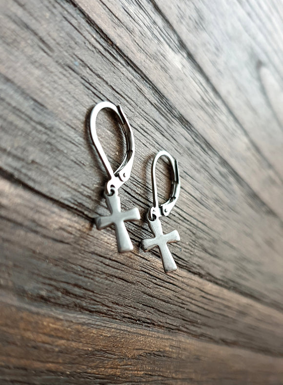 Tiny Cross Earrings, Stainless Steel Earrings.