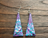 Purple Glitter Triangle Dangle Resin Earrings