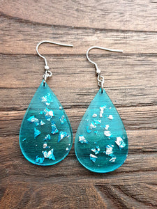 Teardrops Dangle Resin Earrings, Brilliant Blue and Silver Leaf