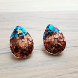 Teardrops Rose Gold mix Glitter Stud Earrings