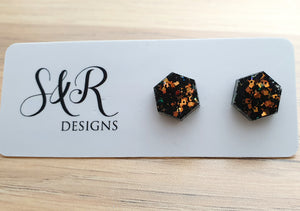 Hexagon Resin Stud Earrings, Black Rose Gold Copper Glitter 10mm