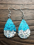 Statement Teardrops Dangle Resin Earrings, Aqua Silver Glitter