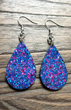 Statement Teardrops Dangle Resin Earrings, Blue Pink Glitter