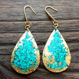Statement Teardrops Dangle Resin Earrings,  Teal & Gold