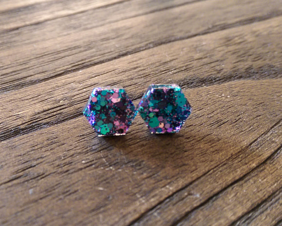 Hexagon Resin Stud Earrings, Teal Black Pink Glitter Earrings. Stainless Steel Stud Earrings. 10mm - Silver and Resin Designs