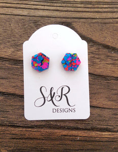 Hexagon Resin Stud Earrings, Neon Glitter Earrings. Stainless Steel Stud Earrings. 10mm - Silver and Resin Designs