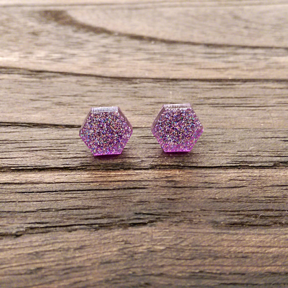 Hexagon Resin Stud Earrings, Purple Sparkly Earrings. Stainless Steel Stud Earrings. 10mm - Silver and Resin Designs