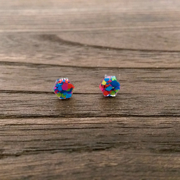 Hexagon Resin Stud Mini Earrings, Neon Glitter Earrings. Stainless Steel Stud Earrings. 6mm - Silver and Resin Designs