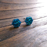 Hexagon Resin Stud Earrings, Blue Sparkle Earrings. Stainless Steel Stud Earrings. 10mm - Silver and Resin Designs