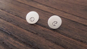 Personalised Hand Stamped Mini Circle Disc Stud Earrings Choose Silver, Gold Rose Gold - Silver and Resin Designs