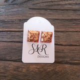 Square Resin Stud Earrings, Rose Gold Copper Glitter Earrings, Stainless Steel - Silver and Resin Designs