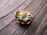 Resin Flower Brooch Stainless Steel Pin Pink Mustard, Purple Green Mix - Silver and Resin Designs