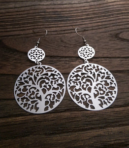 Stainless Steel Tree of Life Long Dangle Hook Earrings. - Silver and Resin Designs