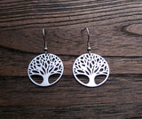 Stainless Steel Tree of Life Dangle Hook Earrings. - Silver and Resin Designs