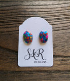Oval Gem Resin Stud Earrings, Neon Glitter Stainless Steel Stud Earrings. - Silver and Resin Designs