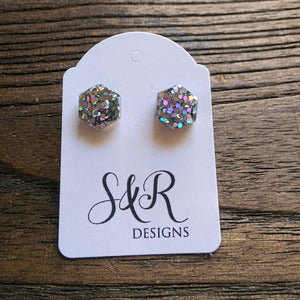 Hexagon Resin Stud Earrings, Holographic Silver Glitter Earrings. Stainless Steel Stud Earrings. 10mm - Silver and Resin Designs