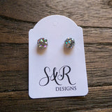 Hexagon Resin Stud Mini Earrings, Silver Holographic Glitter Earrings. Stainless Steel Stud Earrings. 6mm - Silver and Resin Designs