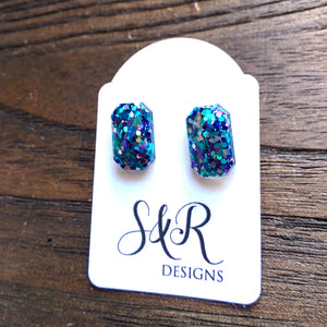 Emerald Cut Resin Stud Earrings, Silver Purple Teal Glitter Earrings - Silver and Resin Designs