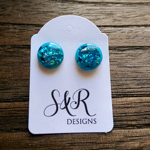 Blue Silver Leaf Circle Resin Stud Earrings, Stainless Steel Stud Earrings. 12mm - Silver and Resin Designs