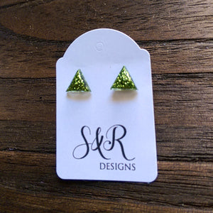 Triangle Resin Stud Earrings, Green Glitter Earrings 10mm - Silver and Resin Designs