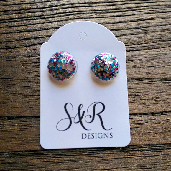 Circle Resin Stud Earrings, Blue, Silver , Pink Glitter Earrings - Silver and Resin Designs