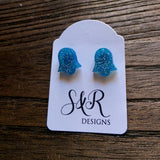 Bell Flower Resin Stud Earrings, Blue Glitter Mix Earrings. Stainless Steel Stud Earrings. - Silver and Resin Designs