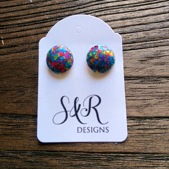 Circle Resin Stud Earrings, Neon Glitter Earrings - Silver and Resin Designs