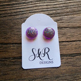 Circle Resin Stud Earrings, Purple Holographic Shimmer Glitter Earrings - Silver and Resin Designs