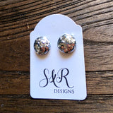 Circle Resin Stud Earrings, Silver Chunky Glitter Earrings - Silver and Resin Designs