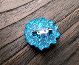 Resin Flower Brooch Stainless Steel Pin Blue Pink Glitter Mix - Silver and Resin Designs