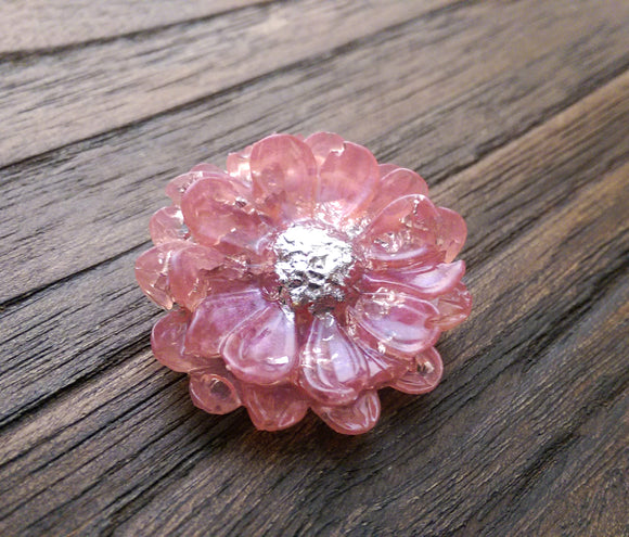 Resin Flower Brooch Stainless Steel Pin Pink Silver Mix - Silver and Resin Designs