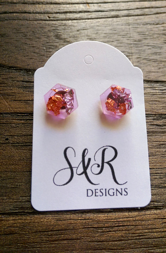Hexagon Resin Stud Earrings, Pink Rose Gold Silver Leaf Earrings. Stainless Steel Stud Earrings. 10mm - Silver and Resin Designs