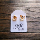 Gold Leaf Circle Resin Stud Earrings, Stainless Steel Stud Earrings. 12mm - Silver and Resin Designs