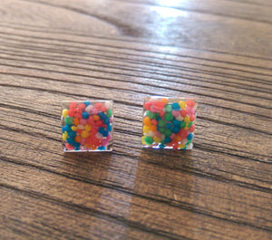 100s & 1000s Square Resin Stud Earrings, Stainless Steel Stud Earrings. 12mm - Silver and Resin Designs