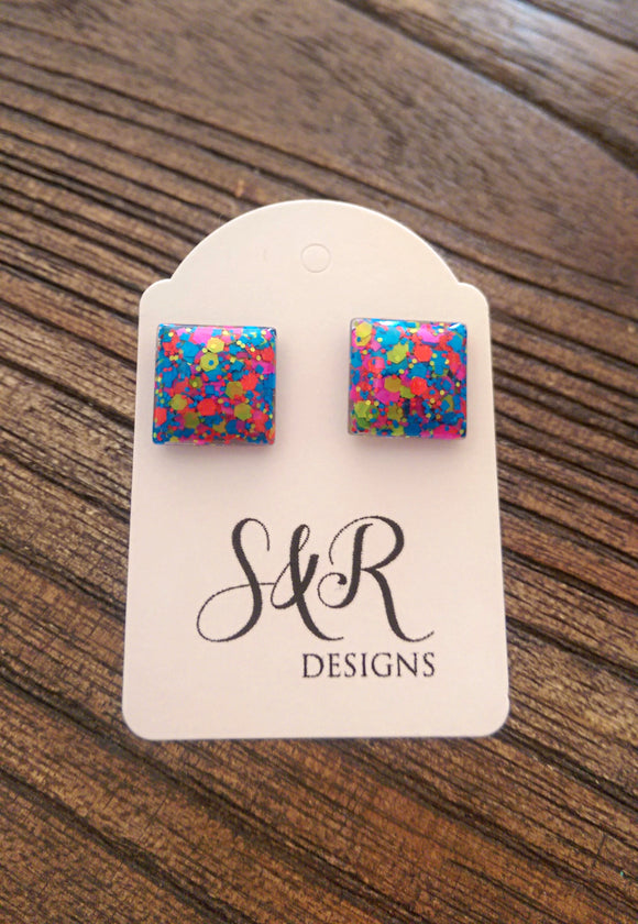 Neon Glitter Square Resin Stud Earrings, Stainless Steel Stud Earrings. 12mm - Silver and Resin Designs