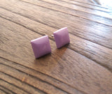 Lilac Square Resin Stud Earrings, Stainless Steel Stud Earrings. 12mm - Silver and Resin Designs