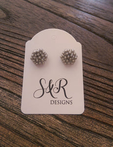 Hexagon Resin Stud Earrings, Silver Earrings. Stainless Steel Stud Earrings. 10mm - Silver and Resin Designs