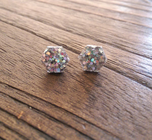 Hexagon Resin Stud Earrings, Silver Holographic Glitter Earrings. Stainless Steel Stud Earrings. 10mm - Silver and Resin Designs