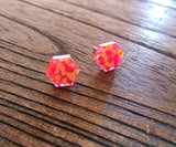 Hexagon Resin Stud Earrings, Neon Orange Yellow Pink Glitter Earrings. Stainless Steel Stud Earrings. 10mm - Silver and Resin Designs