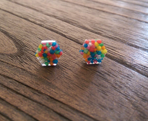 Hexagon Resin Stud Earrings, 100s and 1000s Resin Earrings. Stainless Steel Stud Earrings. 10mm - Silver and Resin Designs