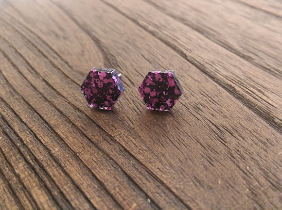Hexagon Resin Stud Earrings, Black Pink Glitter Earrings. Stainless Steel Stud Earrings. 10mm - Silver and Resin Designs