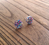 Hexagon Resin Stud Earrings, Mixed Glitter Earrings. Stainless Steel Stud Earrings. 10mm - Silver and Resin Designs