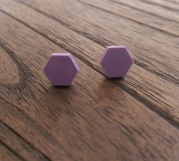 Hexagon Resin Stud Earrings, Lilac Earrings. Stainless Steel Stud Earrings. 10mm - Silver and Resin Designs