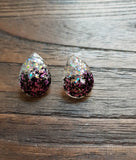 Teardrops Stud Glitter Earrings, Pink Black Silver Holographic Mix Earrings Stainless Steel - Silver and Resin Designs
