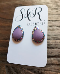 Teardrops Stud Glitter Earrings, Purple with Mix Glitter Earrings Stainless Steel - Silver and Resin Designs