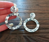 Hoop Silver Chunky Glitter Acrylic Earrings with Stainless Steel - Silver and Resin Designs