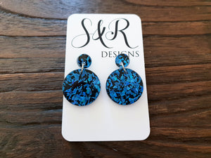 Ice Blue Shards Circle Acrylic Earrings Size Small with Stainless Steel - Silver and Resin Designs