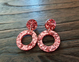 Hoop Rose Gold Chunky Glitter Acrylic Earrings with Stainless Steel - Silver and Resin Designs